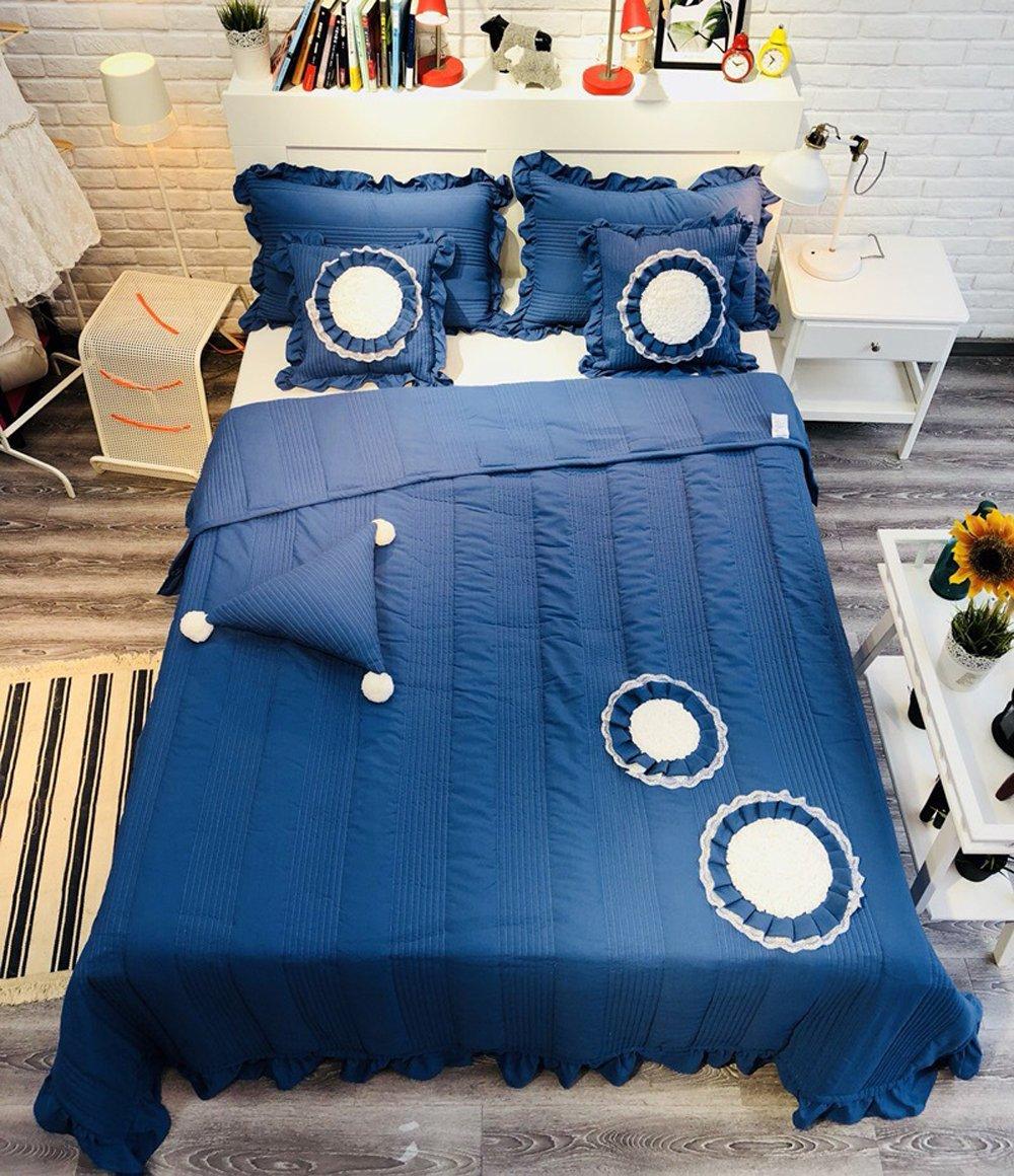 Mengersiソリッドパッチワーク寝具ベッドスプレッドキルトセット花印刷コットン3ピースフルサイズ フル ブルー B07FR9NHF8 ブルー フル