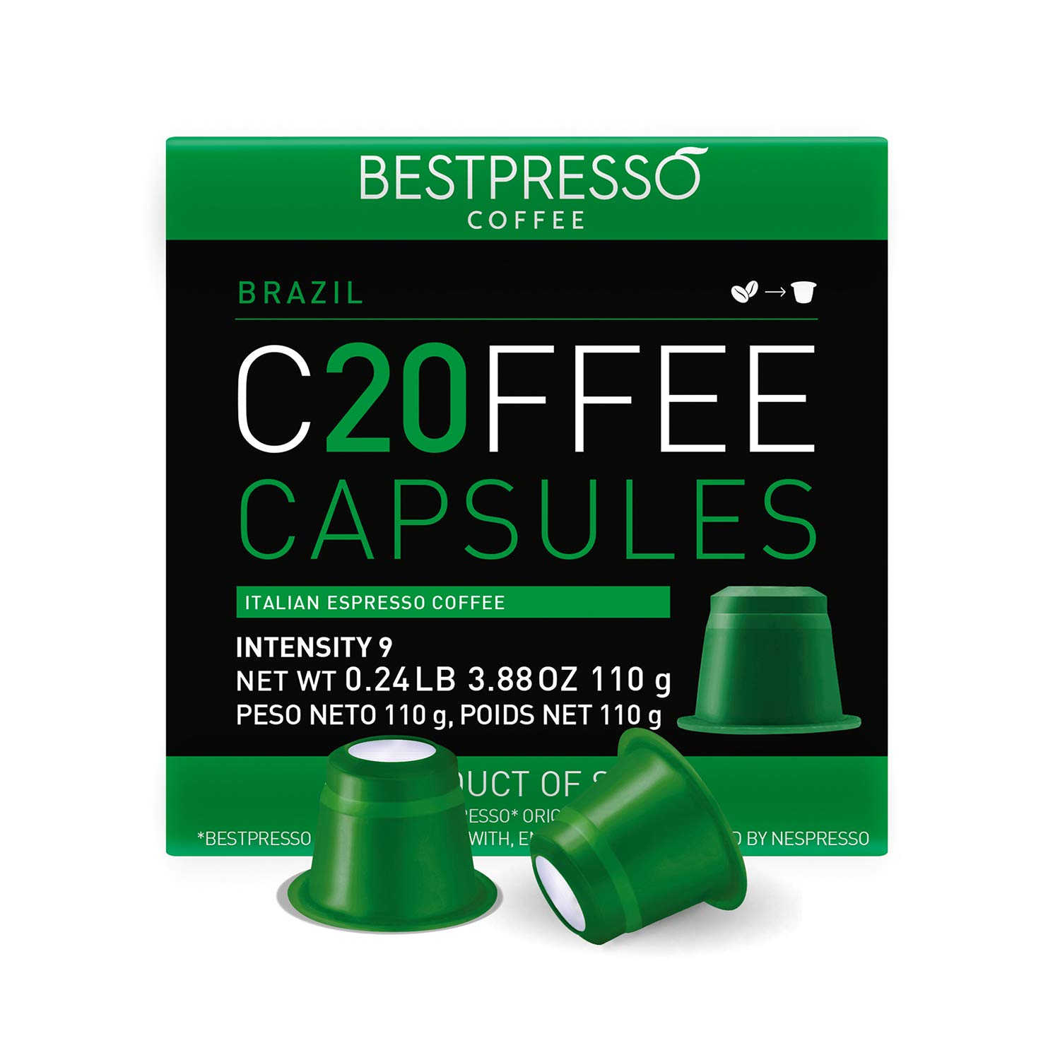 Bestpresso Coffee for Nespresso Original Machine 120 pods Genuine Espresso Brazil Blend Pods Compatible with Nespresso Original