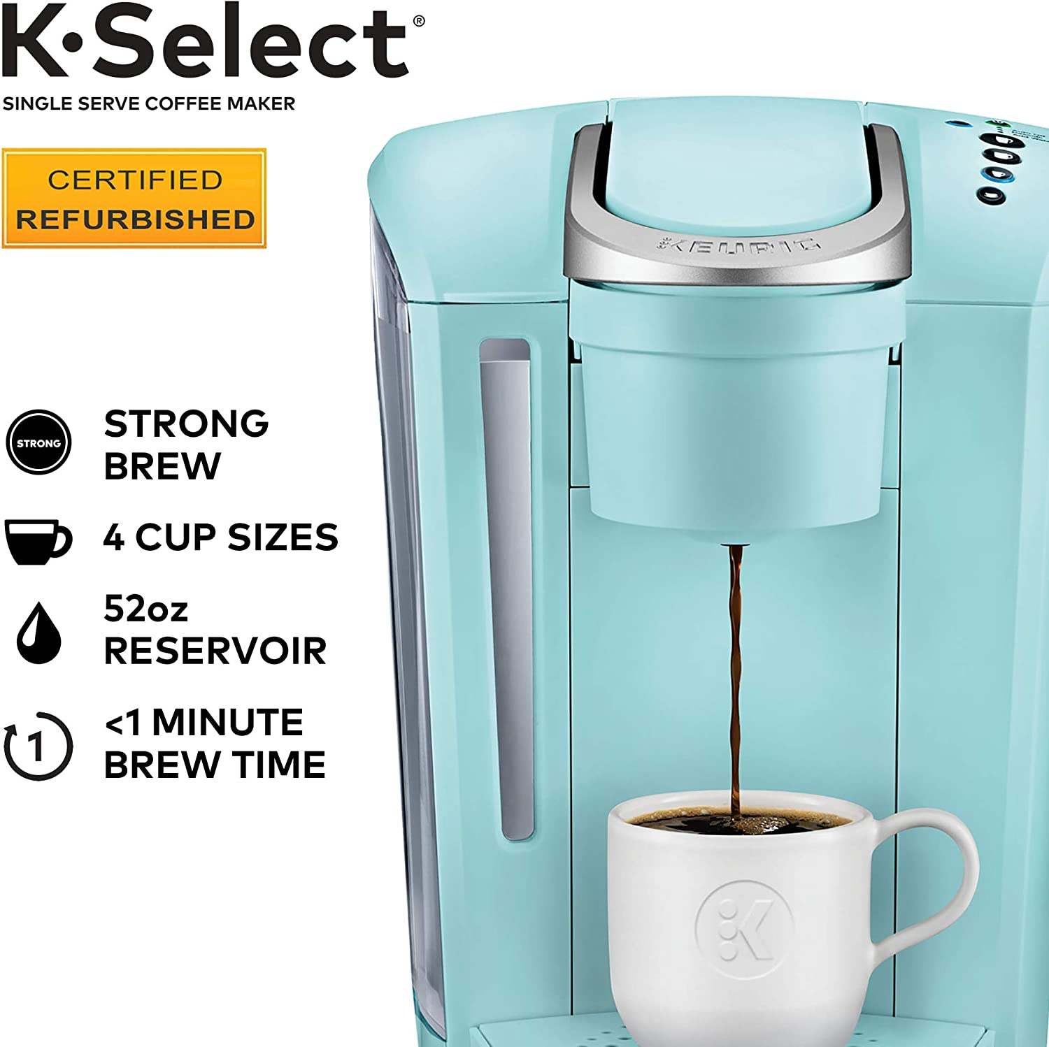 Keurig K-Select Certified Refurbished Coffee Maker, Single Serve K-Cup Pod Coffee Brewer, With Strength Control and Hot Water On Demand, Oasis