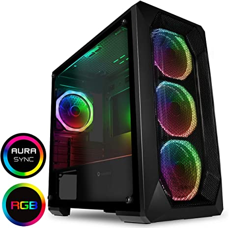 Game Max Kage ARGB PC Gaming Case Mobo Sync ATX Black Water-Cooling Ready Full Tempered Glass Side Panel Included ARGB Hub Included Mid-Tower