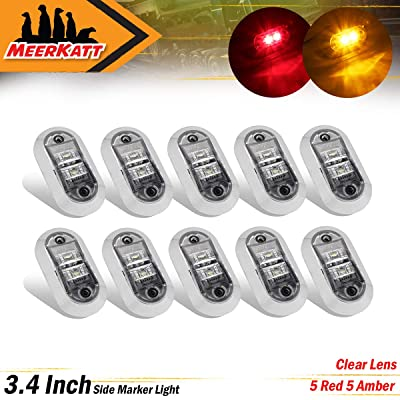 Meerkatt (Pack of 10) 2.5 Inch Clear Lens 5 Amber & 5 Red LED Oval Fender Marker Light 2 Diodes Flush Mount Clearance Bulb Waterproof RV Truck Lorry Trailer ATV Pickup Bus SUV 12V 24V DC Sealed LM-CHS: Automotive