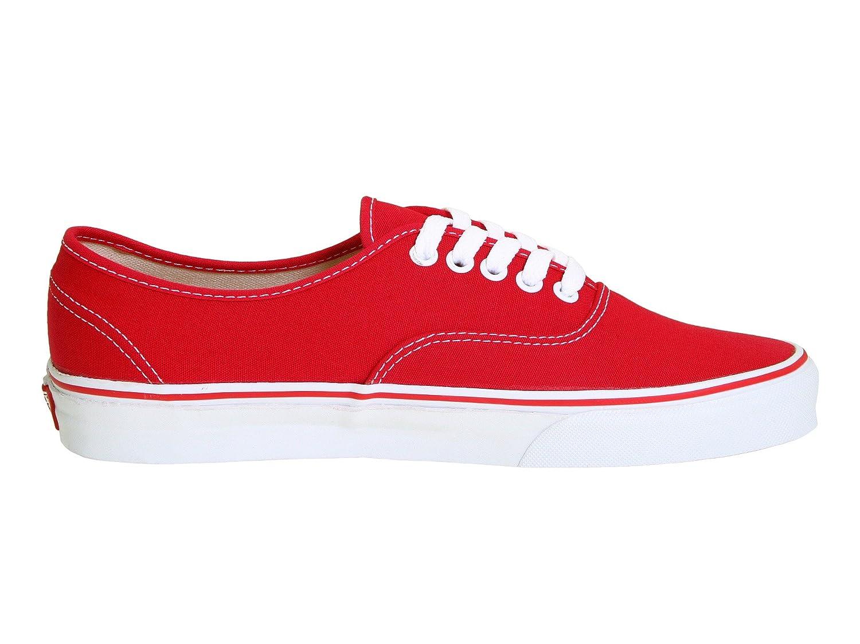 VANS Unisex Authentic Black Canvas VN000EE3BLK Skate Shoe B01M0K8ACK 7.5 M US Women / 6 M US Men|Red