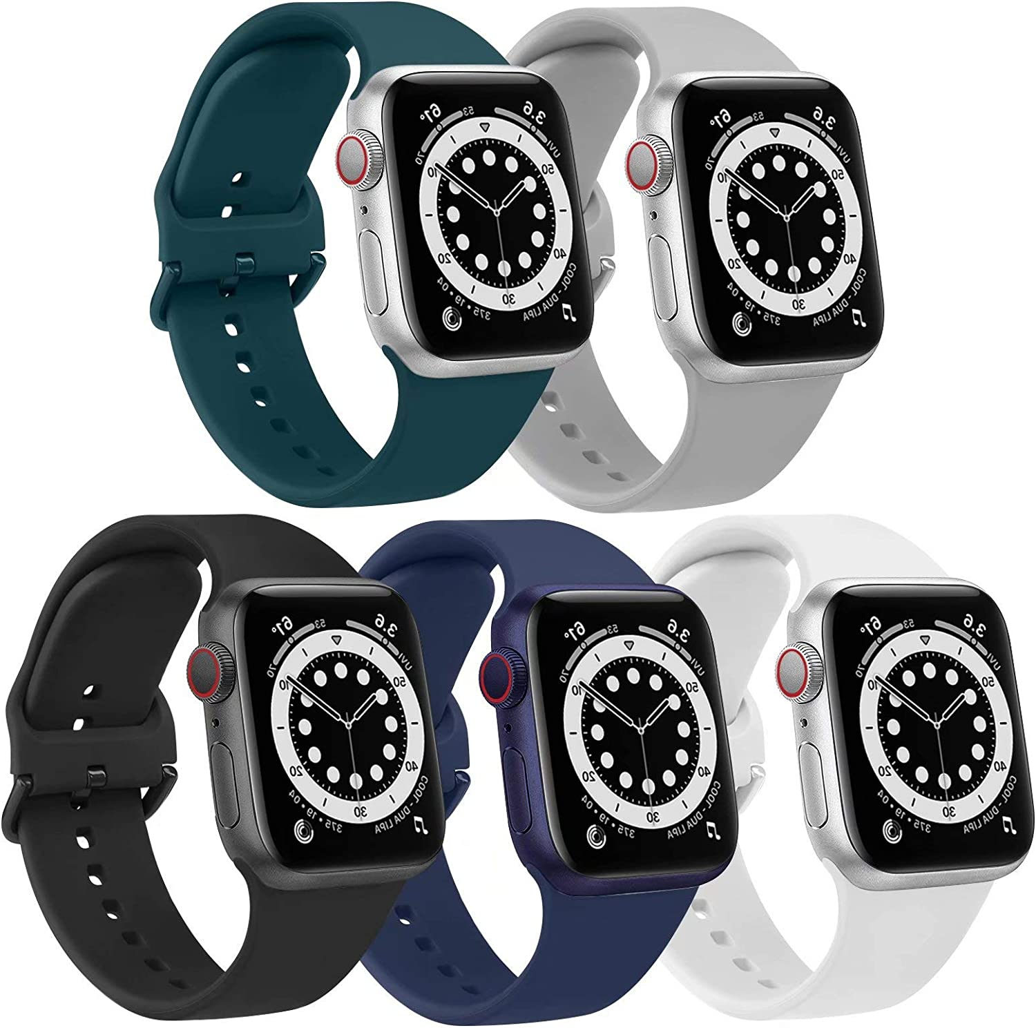 [5 Pack] Bands Compatible with Apple Watch Band 44mm 42mm Soft Silicone Sport Replacement Strap (42/44mm, Black/Grey/Blue/Deep Green/White)