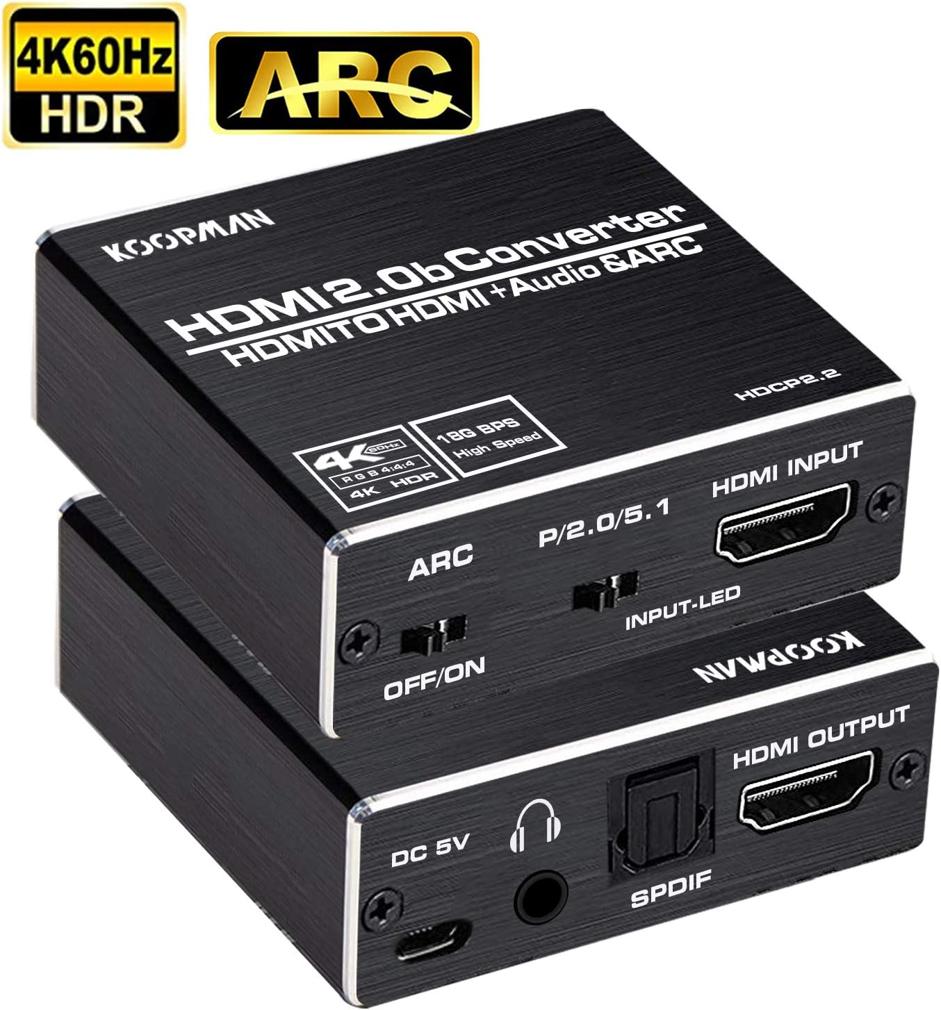 + 3.5mm AUX Stereo Audio Converter Supports HDMI 2.0b//4K@60Hz//HDCP 2 5.1 SPDIF Koopman HDMI to HDMI 4K HDMI to HDMI and Audio Extractor Optical Toslink 2//3D//Dolby 5.1 HDMI Audio Adapter