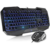Beastron gaming keyboard and mouse combo,LED 104 Keys USB Ergonomic Wrist Rest Computer Keyboard USB Wired for Windows…