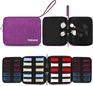 Betoores Watch Band Case Travel Organizer Bag, Watch Band Storage Case Hold 20 Smart Watch Straps, Compatible with Apple Watch, Fitbit Series - Purple