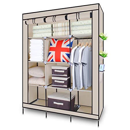Canvas Wardrobe, HST Mall Triple Canvas Clothes Cupboard Hanging Rail  Shelves Bedroom Storage Furniture 172