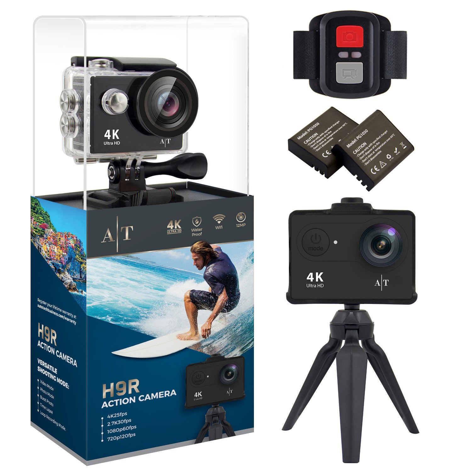 Auto Tech H9S Action Camera 4K Waterproof Wifi Sports Camera Full HD 4K 25FPS 2.7K 30fps 1080P 60fps Video Camera 12MP Photo, 170 Wide Angle Lens Includes 11 Mountings Kit 2 Batteries |Just Like GoPro by Auto Tech