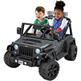 Fisher-Price Deluxe Jeep Edition Power Wheels Rubicon Wrangler 12V Ride-On, Realistic Accents and Working Lights Parent Controlled High Speed Lock-out and a Roomy Rear Storage Area