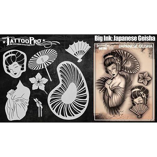 Tattoo Pro Stencils tatuaje pro de la plantilla geisha: Amazon.es ...