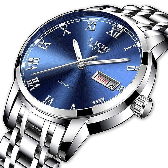 LIGE Relojes para Hombre Relojes de Acero Inoxidable de Moda a Prueba de Agua Reloj de Cuarzo analógico Hombres Deporte Casual Negocio con Reloj de ...