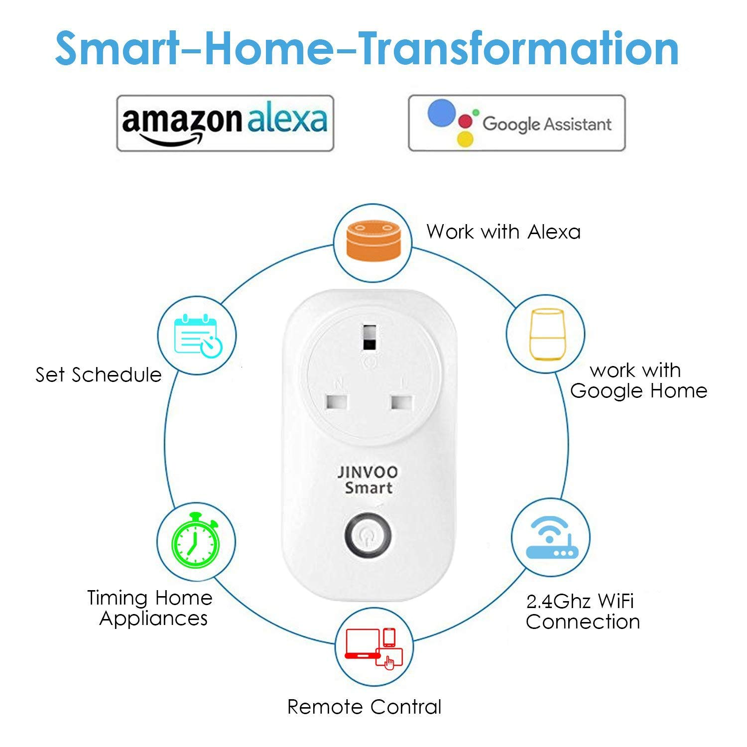 JinvooSmart Wireless Wi-Fi Smart Socket Switch Adaptation to Alexa Echo and  Works with Google Assistant Remote Control Smart Home Automation UK Plug
