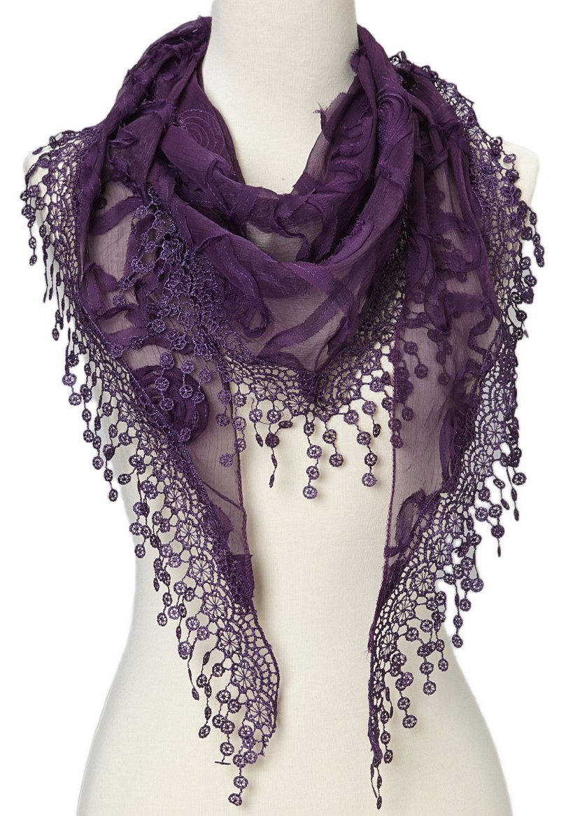 Cindy and Wendy Lightweight Triangle Floral Fashion Lace Fringe Scarf Wrap for Women (Purple)
