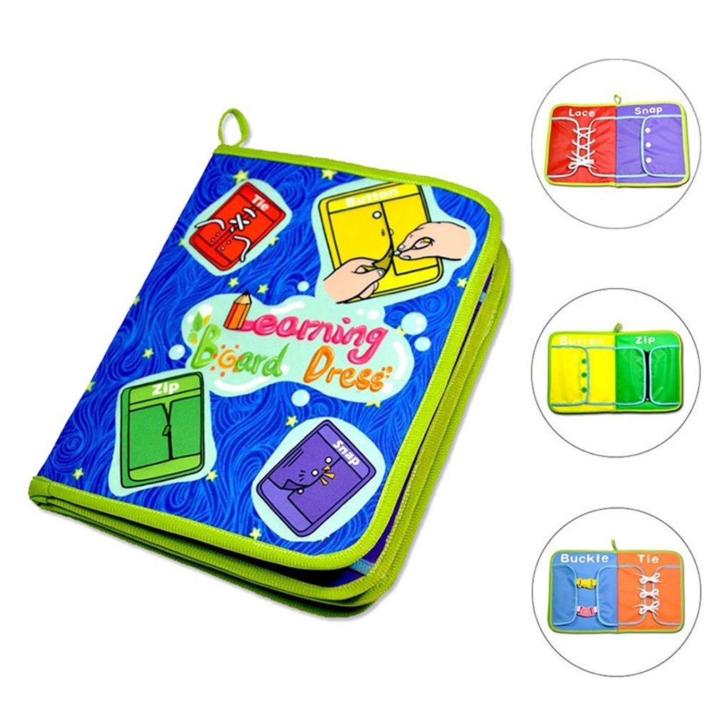 AOLVO 6 in 1 Montessori Learn to Dress Boards Toys Quiet Book-Zip, Snap, Button, Buckle, Lace and Tie,Early Learning Basic Life Skills Books,Educational Toy for Toddlers Children