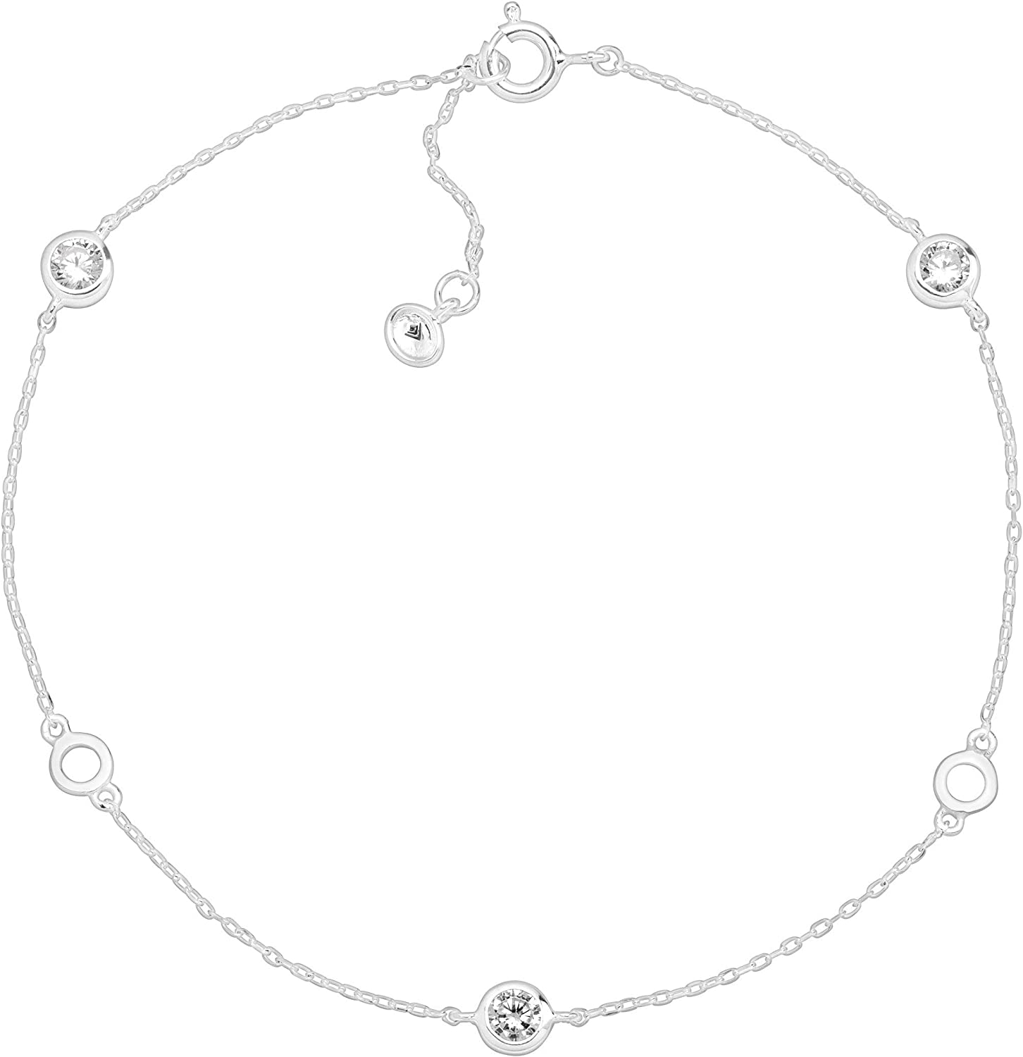 Silpada Clarity Serenity Anklet with Cubic Zirconia in Sterling Silver 9 1