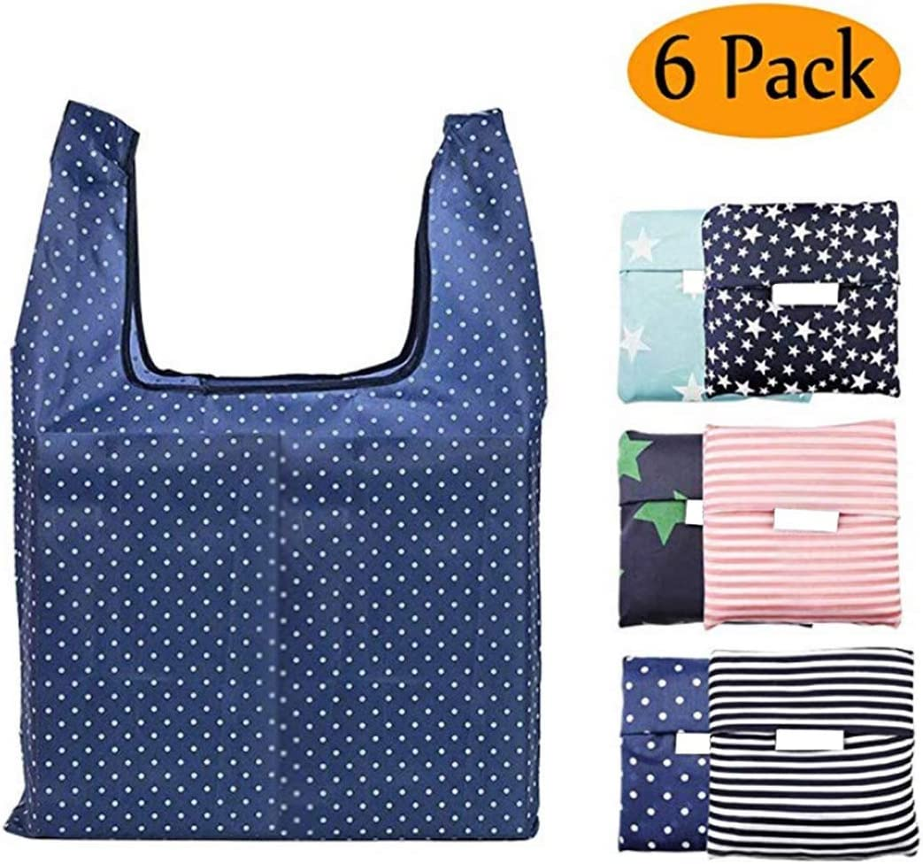 Pack of 6 Reusable Grocery Bags Set, Grocery Tote Foldable into Attached Pouch, Reinforced Polyester Reusable Shopping Bags, Washable, Durable and Lightweight (Reusable Grocery Bags 6 PACK)