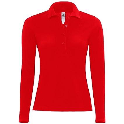 B&C – Polo manga larga 100% algodón – Mujer, rojo, XS: Amazon.es ...