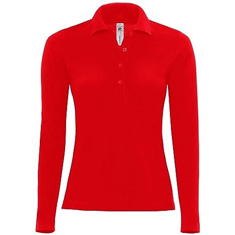 B&C – Polo manga larga 100% algodón – Mujer, rojo, XL: Amazon.es ...