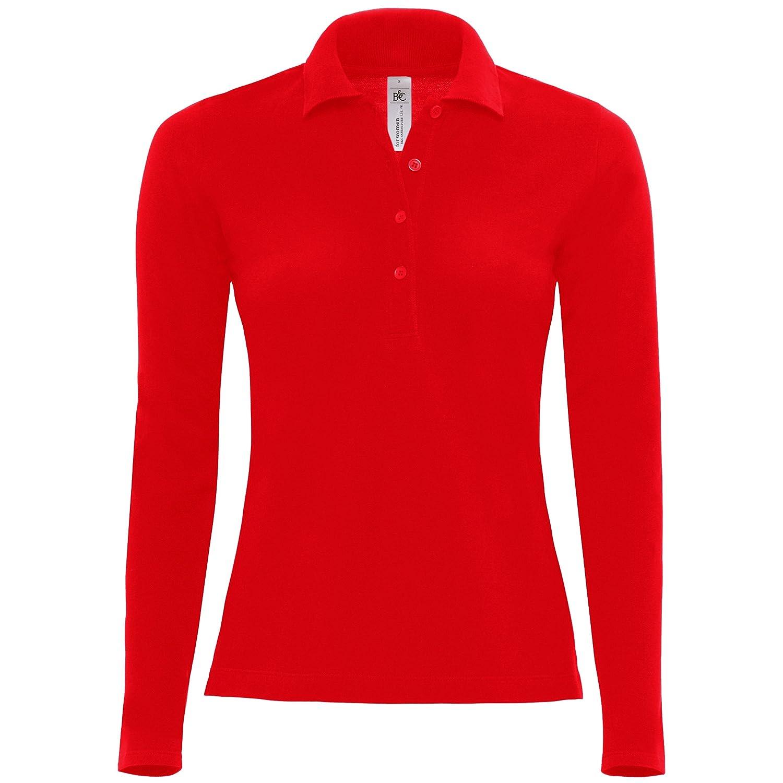 Black M B/&C Womens Long-Sleeved Polo Shirt 100/% Cotton