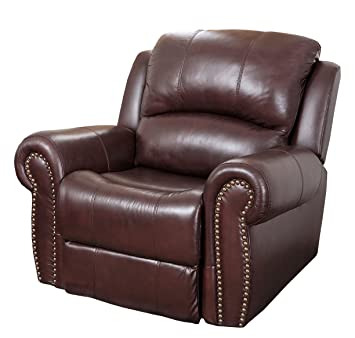 abbyson mercer reclining italian leather armchair