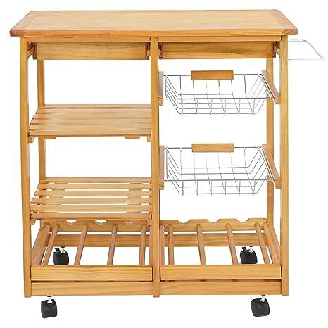 Amazon.com - Oteymart Wood Kitchen Island Rolling Kitchen ...