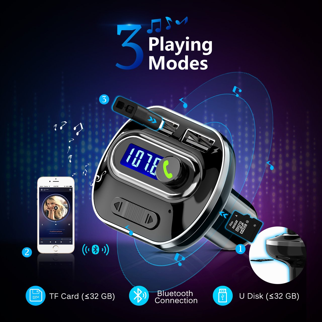 Victsing 41 Bluetooth Fm Transmitter For Car Hands Free Kit Bt20 Dual Usb Charger Mp3 Wma Audio Call 5v 34a Support Tf Card Music Pl Supports Aux Output And U Disk Voltage Detection Black