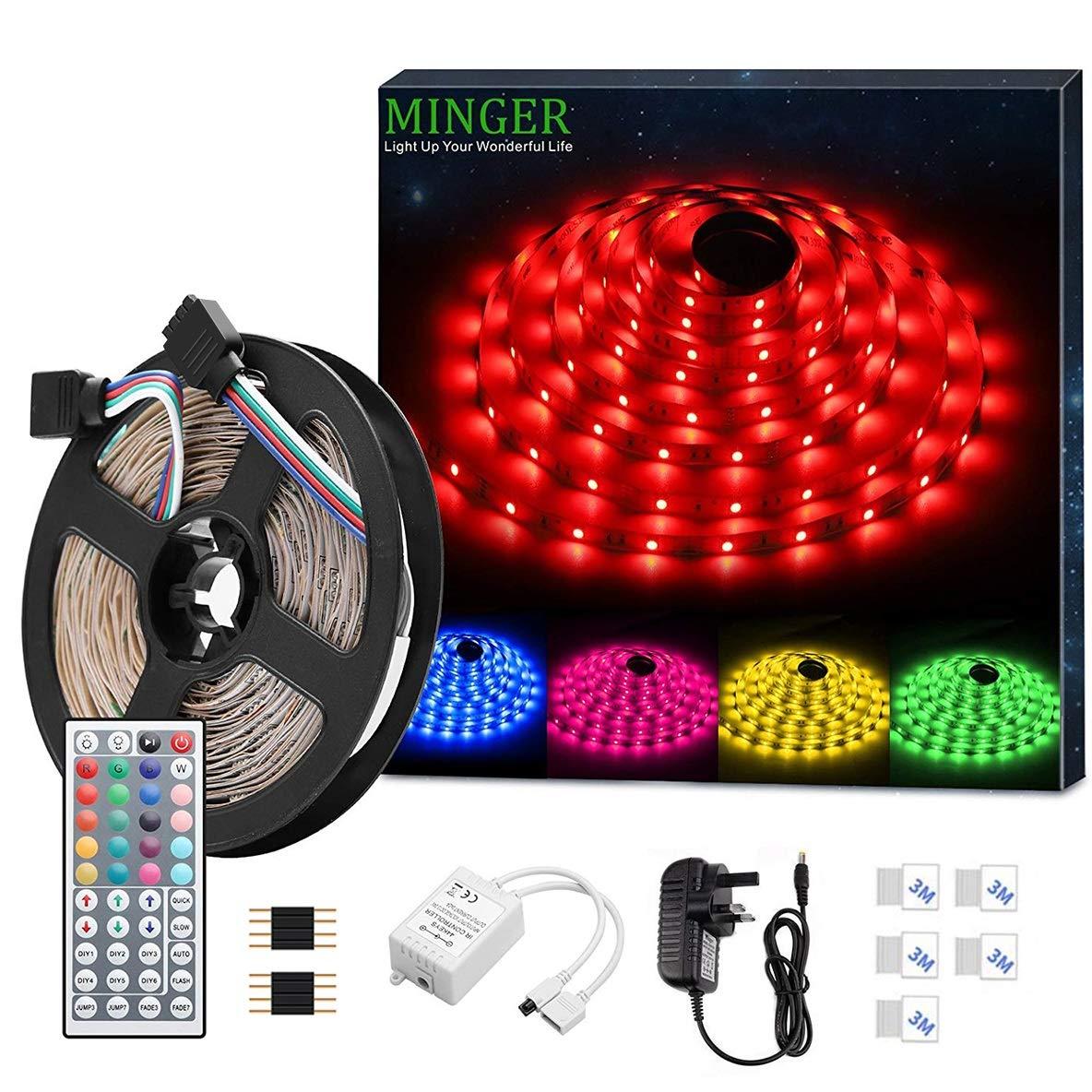ae1f5c24dd93a6 LED Strip Light MINGER 16.4ft(5m) RGB SMD 5050 LED Rope Lighting Color  Changing Full Kit with 44-Keys IR Remote Controller LED Lighting Strips for  Kitchen ...