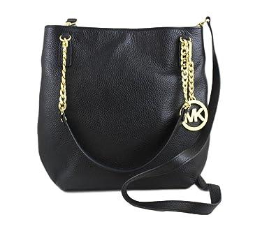 fcf452099b7b Amazon.com  Michael Michael Kors Jet Set Chain Item Medium Leather Messenger  Bag In Black  Shoes