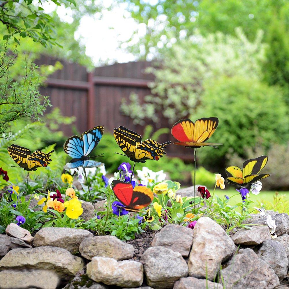 Flyfish Paquete de 48 mariposas de jard/ín en miniatura para decoraci/ón de macetas de flores