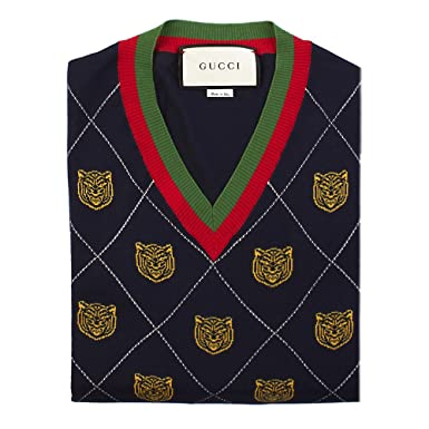 52e3a055ca8 Gucci Men s Tiger Argyle Wool V-Neck Sweater Navy Blue  Gucci ...