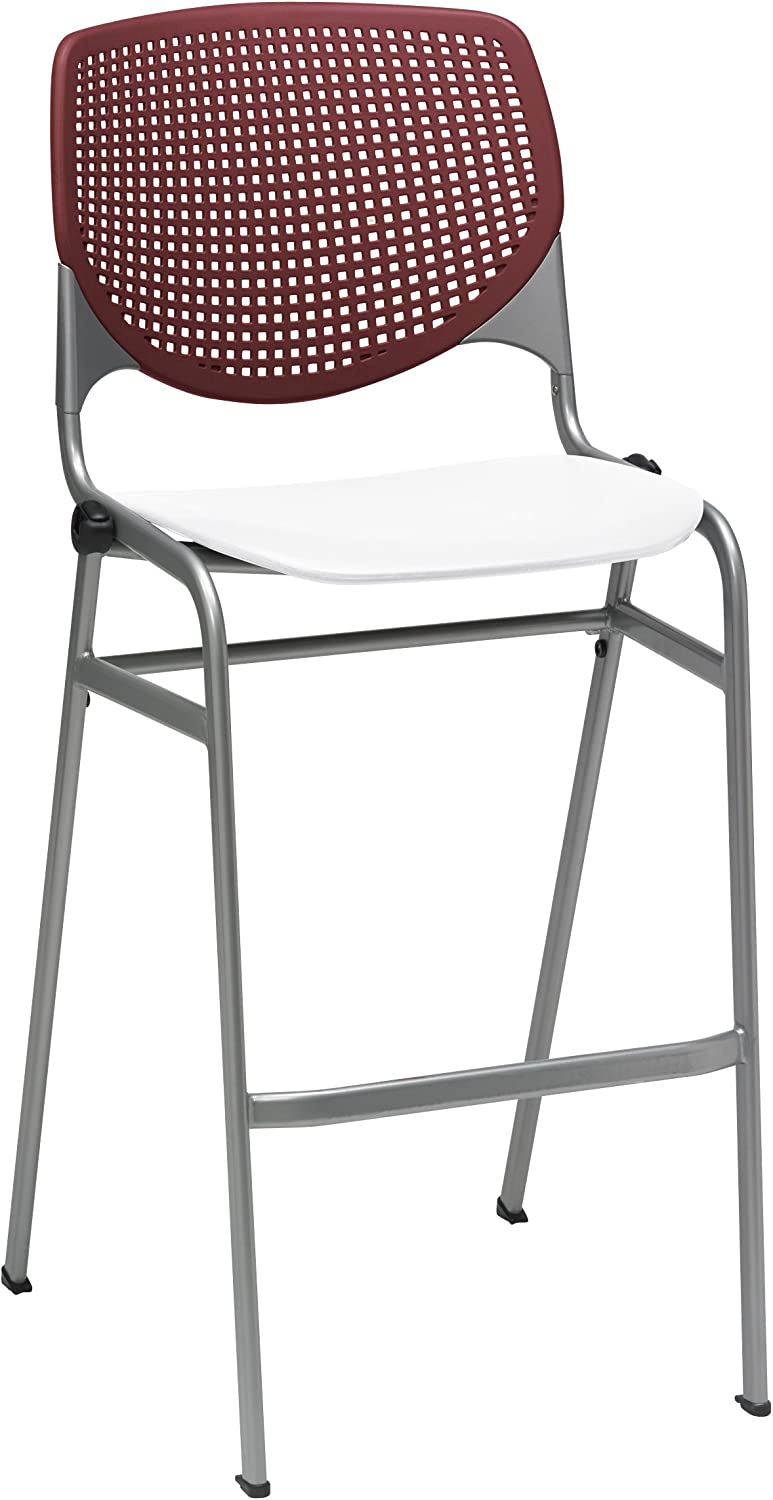 KFI Seating Poly Stack Bar Stool with Perforated White Seat and Burgundy Back