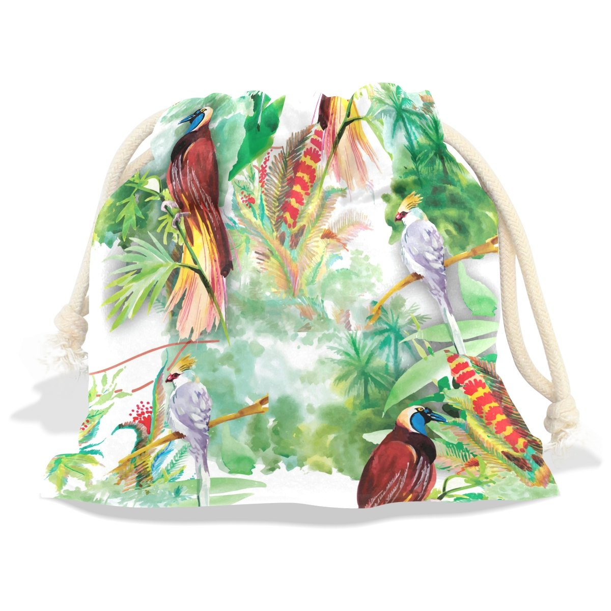 Dragon Sword Watercolor Wild Exotic Birds Flowers Gift Bags Jewelry Drawstring Pouches for Wedding Party, 6x8 Inch by Dragon Sword (Image #2)
