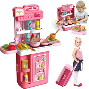 HONYAT 41pcs Pretend Play Kitchen Sets with Kids Travel Suitcase, Kitchen Accessories Set, Realistic Lights & Sounds, Play Food Pre-Kindergarten Toys Fun with Friends for Girls & Boys Gifts