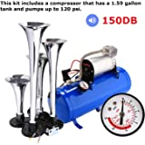 150DB Super Loud 4 Trumpet Vehicle Air Horn Compressor with 1.59 Gallon Tank and Pumps Up