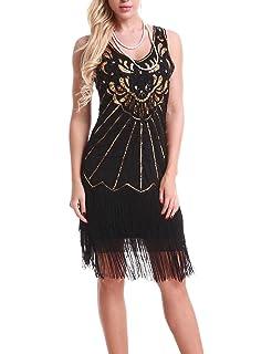 3f75eadc Uniq Sense xs-4xl Women's Roaring 20s V-Neck Gatsby Dresses- Vintage Inpired