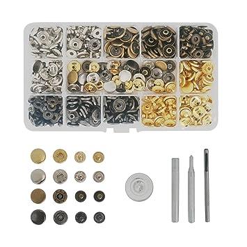 50 x Silber Altgold 12,5mm Druckknöpfe /& 4tlg Werkzeug Handschlageisen für Leder