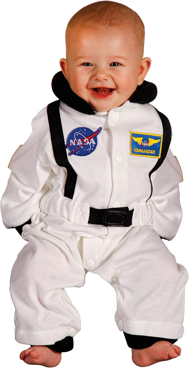 Aeromax Jr. Astronaut Suit with NASA patches and diaper snaps,WHITE, Size 6/12 Months: Clothing