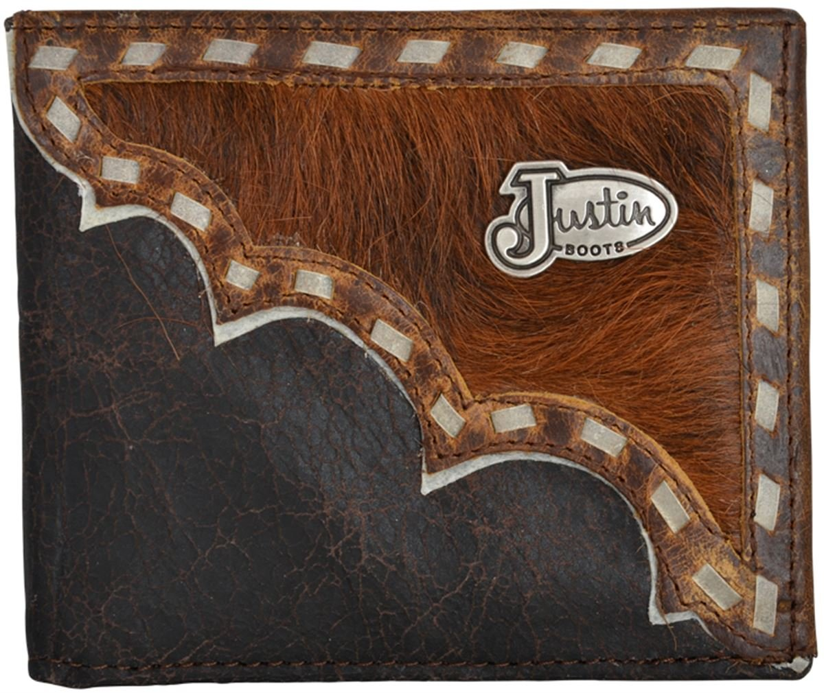 Justin Western Wallet Mens Bifold Buckstitch Dark Brown WJB157