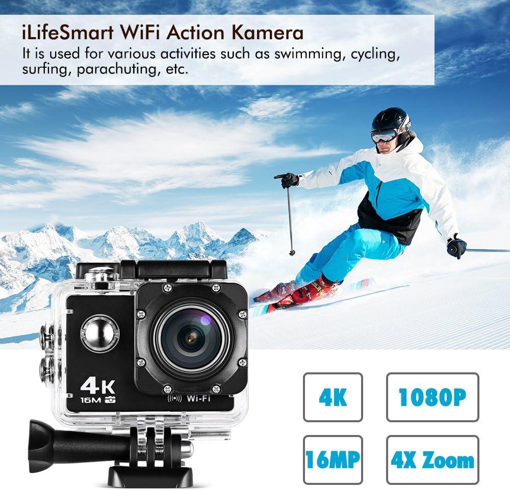 Cámara Deportiva 4K Wifi, iLifeSmart Cámara Deporte Accion Full HD ...