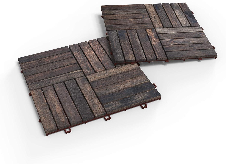 Acacia Hardwood Interlocking Patio Deck Tiles