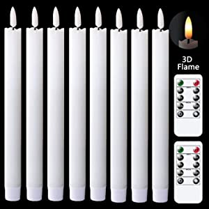 GenSwin Flameless Flickering Taper Candles with 2 Remote Controls and Timer, Real Wax 3D Wick Light Window Candles Battery Operated Pack of 8, Christmas Home Wedding Decor(White, 0.78 X 9.64 Inch)