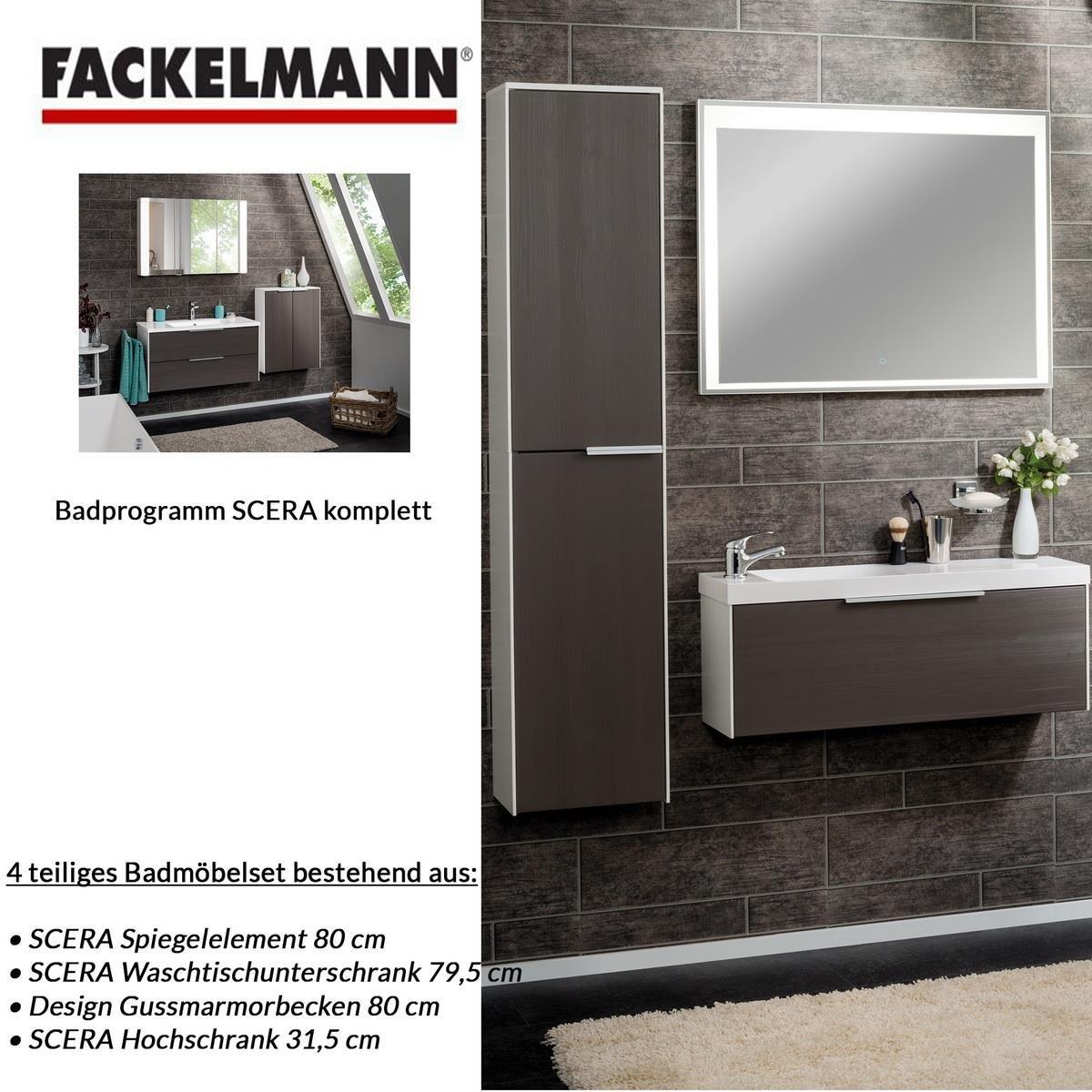Fackelmann Badmöbel Set Scera 4-tlg. 110 cm weiß grau mit ...