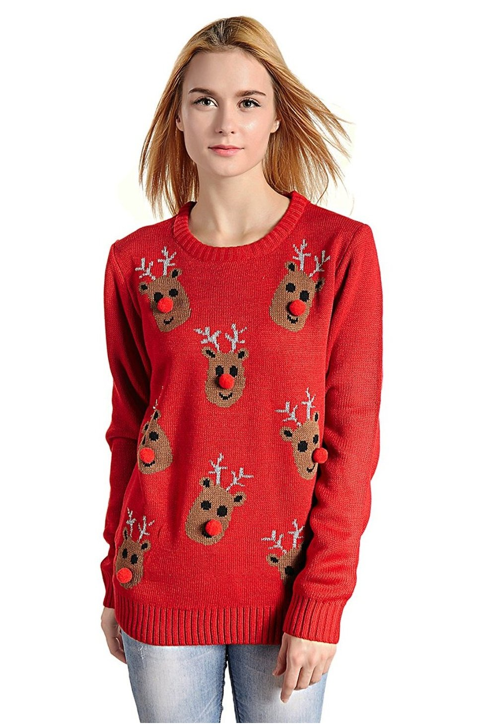 V28 Women's Christmas Reindeer Snowflakes Sweater Pullover (Tag XL (US size 12), Red-3D-Nose)