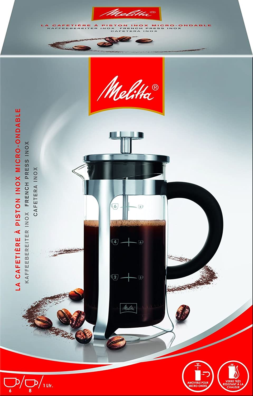 Melitta Premium cafeteras de émbolo (Single French Press, Vidrio ...