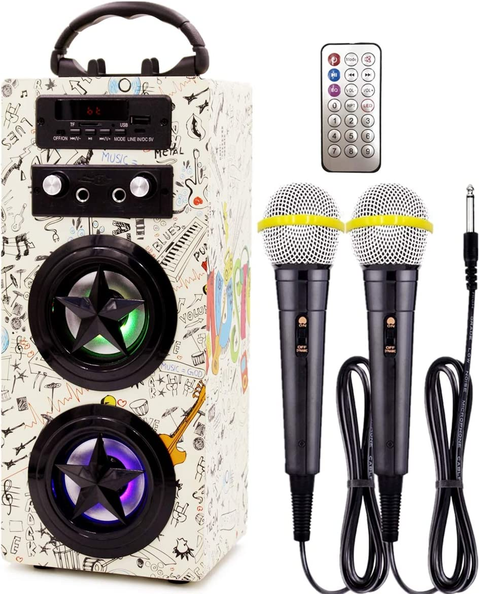 IndeCool Kids Bluetooth Karaoke Machine with 2 Microphones, Rechargeable Remote Control Wireless Karaoke Speaker Portable Karaoke Machine Music MP3 Player for Kids Adult Party Gift (Cream)