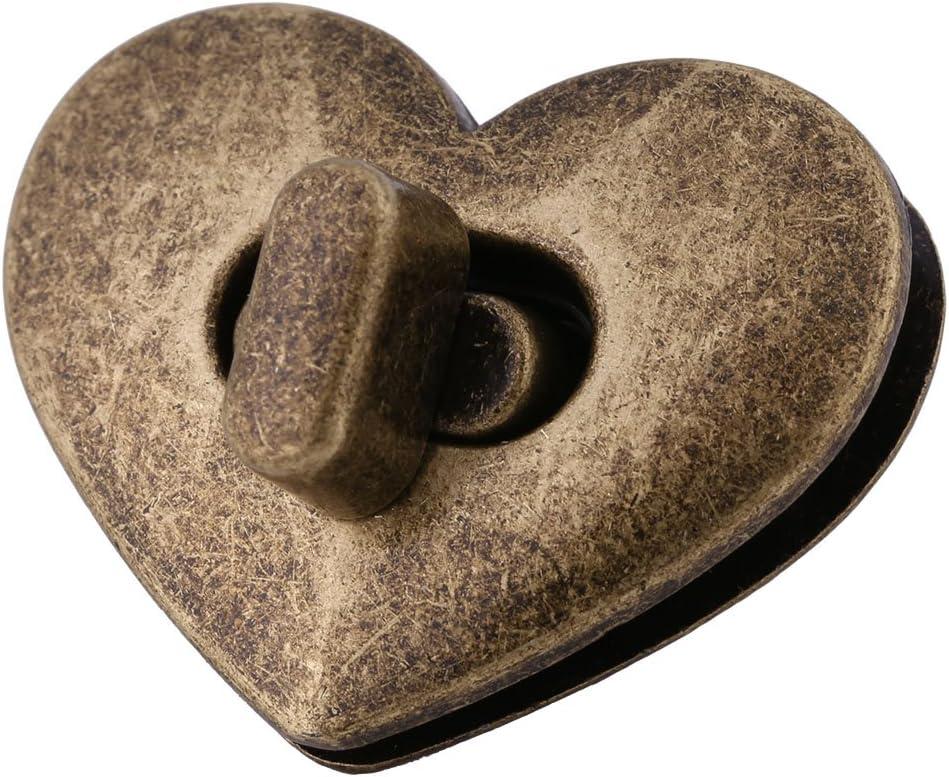 Bronze Cerradura de Matela Cerradura en Forma de Coraz/ón Turnlock de Metal para Bolso Caja Estuche Maleta
