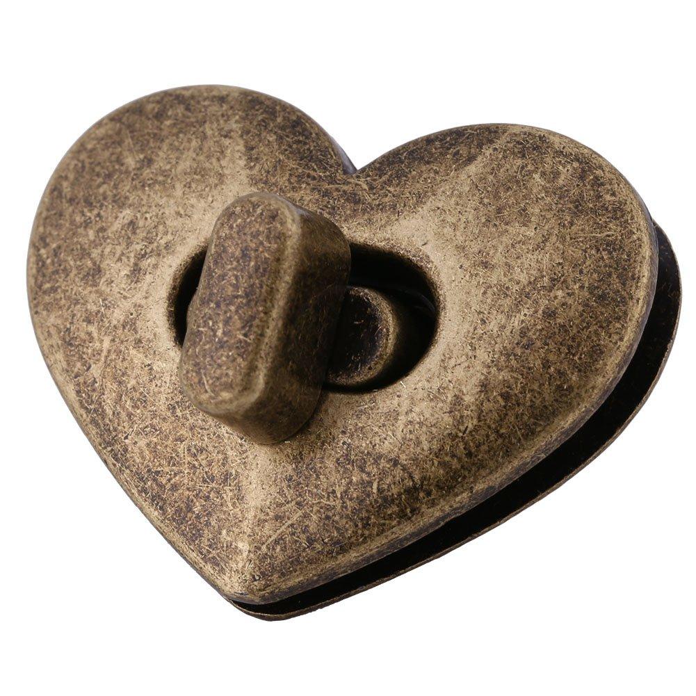 Argento 5 pezzi Serrature per borsa Serrature a forma di cuore per torciglione Serrature per bottoni Chiusura per fermaglio Accessorio per pelletteria