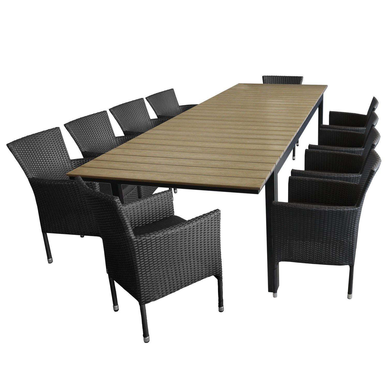 11tlg sitzgarnitur sitzgruppe gartengarnitur aluminium polywood ausziehtisch gartentisch 280. Black Bedroom Furniture Sets. Home Design Ideas