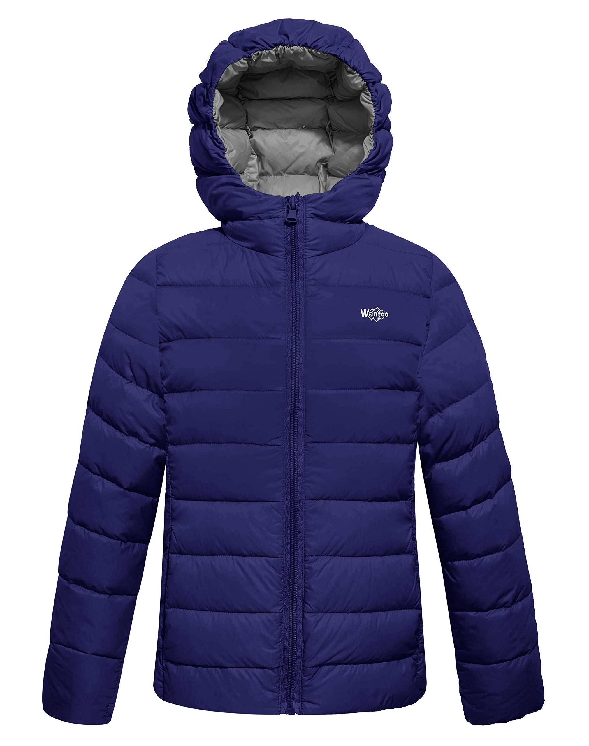 Wantdo Boy's Lightweight Puffer Down Jacket With Hood Packable Outdoor Windbreaker Navy 14/16