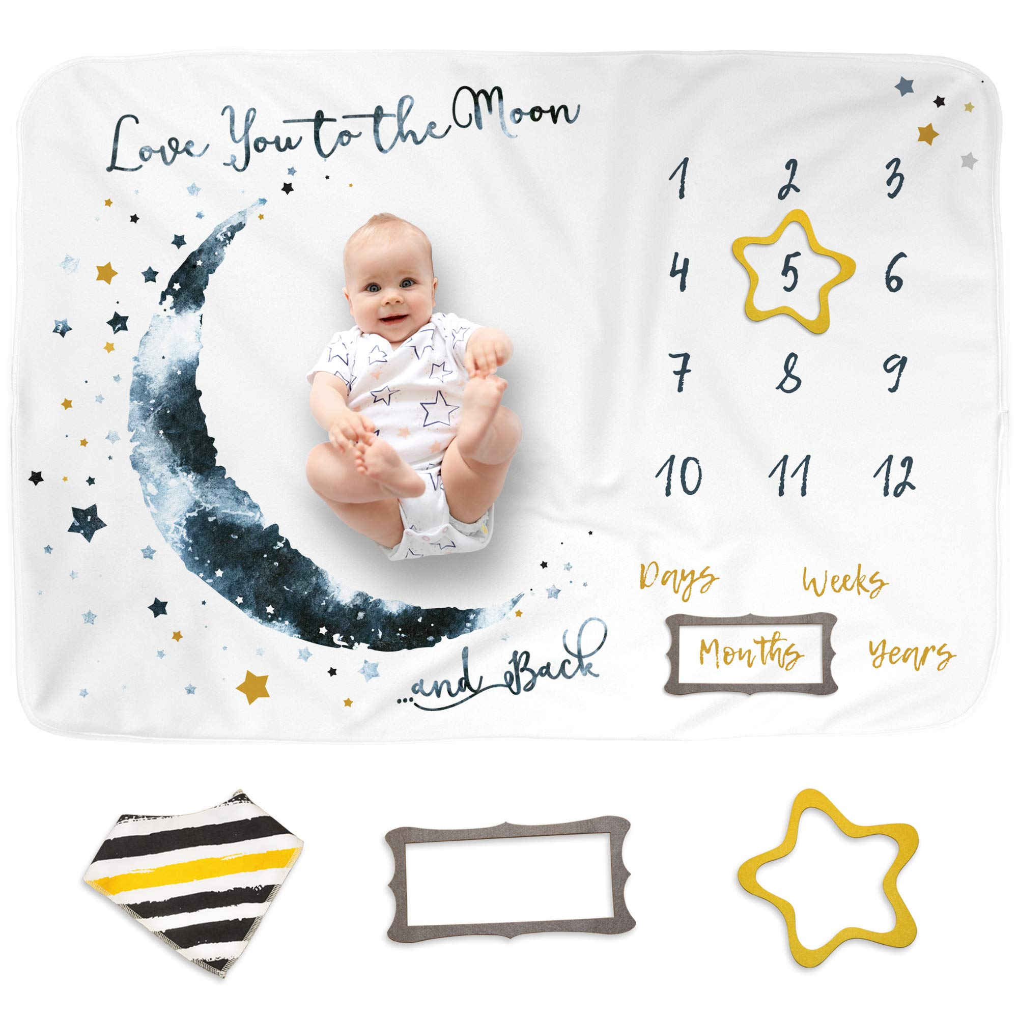 "Luka&Lily Baby Monthly Milestone Blanket Boy and Girl, Unisex Month Blanket for Newborn Baby Shower, Baby Boy Milestone Blanket, Baby Growth Chart Monthly Blanket, Includes Markers 60""x40"""